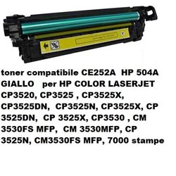 toner compatibile CE252A ( HP 504A ) GIALLO per hp color laserjet CP3525 / CP3530 / CM3530 series - 7000 stampe