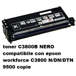toner C3800B NERO compatibile con epson workforce C3800 N/DN/DTN 9500 copie