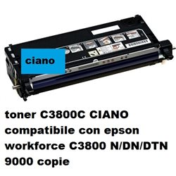 toner C3800C CIANO compatibile con epson workforce C3800 N/DN/DTN 9000 copie