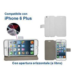 Custodia in ecopelle compatibile con iPhone 6 Plus BIANCA