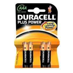 Pile Duracell Plus power MN2400 AAA 1.5V LR03 confezione 4 pezzi