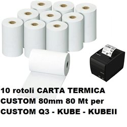 10 rotoli CARTA TERMICA CUSTOM 80MM 80MT Q3-KUBE-KUBEII