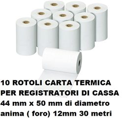 10 rotoli carta termica registratori di cassa 44 mm x 50 mm di diametro anima 12mm 30 metri