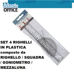 RIGHELLI IN PLASTICA composto da RIGHELLO / SQUADRA / GONIOMETRO / MEZZALUNA