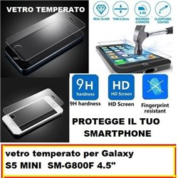vetro temperato per Galaxy S5 MINI SM-G800F 4.5""