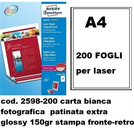 carta bianca fot. patinata extra glossy 150gr stampa fronte-retro 200ff
