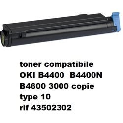 toner compatibile OKI B4400 B4400N B4600 3000 copie type 10 rif 43502302