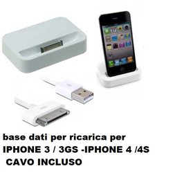 Base Di Ricarica Compatibile IPHONE 3 / 3GS Iphone 4 /4S + CAVO