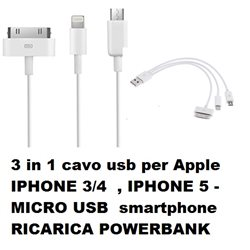3 in 1 cavo usb per Apple IPHONE 3/4 , IPHONE 5 - MICRO USB smartphone RICARICA POWERBANK