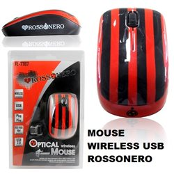 Mouse ottico Rossonero Usb 2.0 Wireless 2,4 Ghz