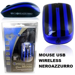Mouse ottico Neroazzurro Usb 2.0 Wireless 2,4 Ghz