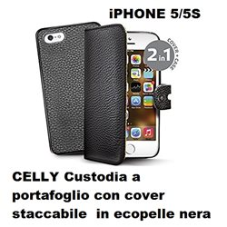 CELLY Custodia a portafoglio con cover staccabile per iPHONE 5/5S in ecopelle nera