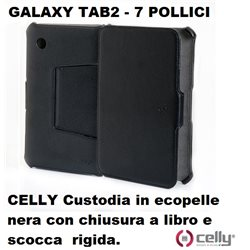 CELLY Custodia per Galaxy Tab 2 - 7 pollici in ecopelle nera con chiusura a libro e scocca rigida.