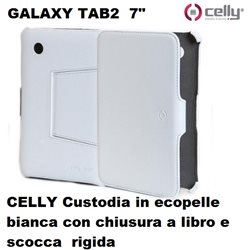CELLY Custodia per Galaxy Tab 2 - 7 pollici in ecopelle bianca con chiusura a libro e scocca rigida.
