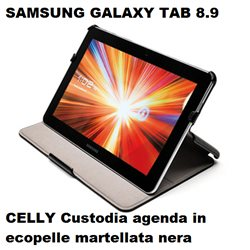 CELLY Custodia agenda per Galaxy Tab 8.9 in ecopelle martellata nera dedicata