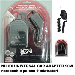 NILOX UNIVERSAL CAR ADAPTER 90W notebook e pc 9 PUNTE INTERCAMBIABILI NX-UCA