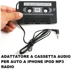 ADATTATORE A CASSETTA AUDIO PER AUTO A IPHONE IPOD MP3 RADIO