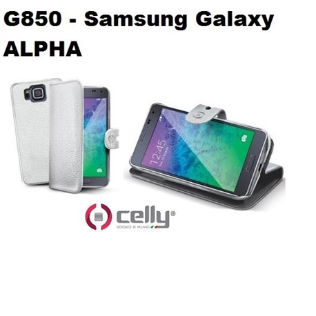 CELLY custodia Samsung Galaxy ALPHA G850 a portafoglio BIANCA con cover staccabile in elegante ecopelle