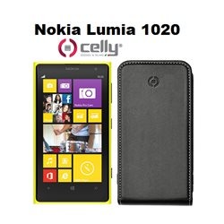 CELLY cover Nokia Lumia 1020 in ecopelle nera con scocca in plastica rigida