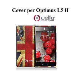 CELLY cover per Optimus L5 II in TPU vintage UK + SCREEN PROTECTOR