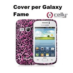 CELLY Cover per Galaxy Fame in morbido e avvolgente TPU anti-shock rosa con texture animalier