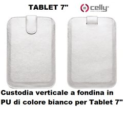 CELLY Custodia verticale a fondina in PU di colore bianco per Tablet 7 POLLICI