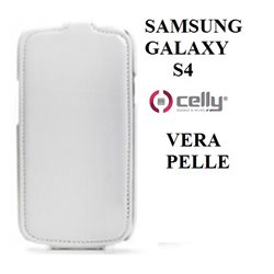 CELLY i9500 - Samsung Galaxy S4 custodia in vera pelle BIANCA con scocca rigida posteriore