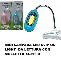 MINI LAMPADA LED CLIP ON LIGHT DA LETTURA CON MOLLETTA XL-266C