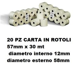 20 PZ CARTA IN ROTOLI 57mm x 30 mt d. int. 12mm d.est. 58mm