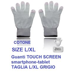 Guanti TOUCH SCREEN smartphone-tablet TAGLIA L/XL GRIGIO