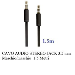 CAVO AUDIO STEREO JACK 3.5 mm M/M 1.5 Metri NERO