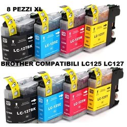multipack 8 cartucce compatibili BROTHER LC125XL LC127XL per DCP-J4110DW, MFC-J2310, MFC-J2510, MFC-J4410DW, MFC-J4510DW