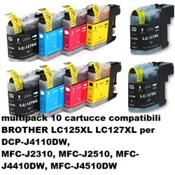 multipack 10 cartucce compatibili BROTHER LC125XL LC127XL per DCP-J4110DW, MFC-J2310, MFC-J2510, MFC-J4410DW, MFC-J4510DW