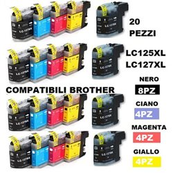 multipack 20 cartucce compatibili BROTHER LC125XL LC127XL per DCP-J4110DW, MFC-J2310, MFC-J2510, MFC-J4410DW, MFC-J4510DW