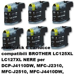 multipack 6 cartucce compatibili BROTHER LC125XL LC127XL NERE per DCP-J4110DW, MFC-J2310, MFC-J2510, MFC-J4410DW, MFC-J4510DW