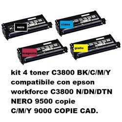 KIT 4 toner compatibili EPSON C3800 BK/C/M/Y workforce C3800 N/DN/DTN 9000 copie