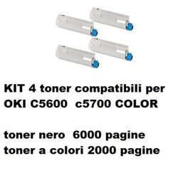 KIT 4 toner compatibili OKI C5600 c5700 COLOR bk 6000 pagine color 2000 pagine