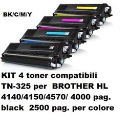 KIT 4 toner compatibili BROTHER TN-325 per HL 4140/4150/4570/ 4000 pag. black 2500 per colore