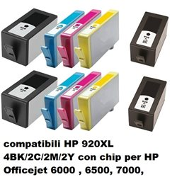 Multipack 10 cartucce compatibili per HP 920XL 4BK/2C/2M/2Y con chip per HP Officejet 6000 , 6500, 7000,