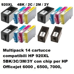 Multipack 14 cartucce compatibili per HP 920XL 5BK/3C/3M/3Y con chip per HP Officejet 6000 , 6500, 7000,