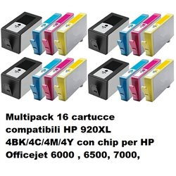 Multipack 16 cartucce compatibili per HP 920XL 4BK/4C/4M/4Y con chip per HP Officejet 6000 , 6500, 7000,