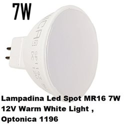 Lampadina Led Spot MR16 7W 12V Warm White Light , Optonica 1196