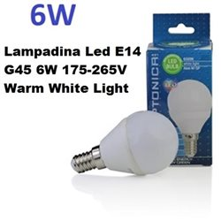 Lampadina Led E14 G45 6W 175-265V Warm White Light , Optonica 1449