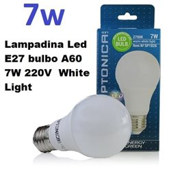 Lampadina Led E27 bulbo A60 7W 220V White Light, Optonica 1824