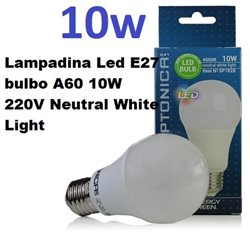 Lampadina Led E27 bulbo A60 10W 220V Neutral White Light, Optonica 1828