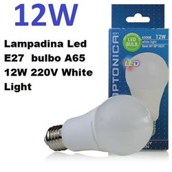 Lampadina Led E27 bulbo A65 12W 220V White Light , Optonica 1831