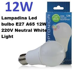 Lampadina Led bulbo E27 A65 12W 220V Neutral White Light , Optonica 1832