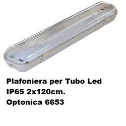 Plafoniera per Tubo Led IP65 2x120cm. , Optonica 6653
