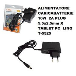 ALIMENTATORE CARICABATTERIE 10W 2A PLUG 5.5x2.5mm X TABLET PC LINQ T-5525