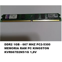 DDR2 1GB - 667 MHZ PC2-5300 MEMORIA RAM PC KINGSTON KVR667D2N5/1G 1,8V
